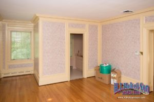 Wall Papered Bedroom with Venetian Plaster Ceiling photo