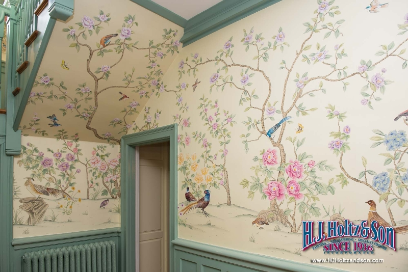 Hand Painted Silk Wallcovering Image